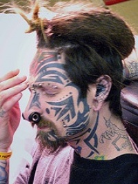 Tribal tattoo on face no work style