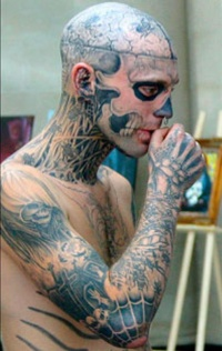 Unfinished zombie boy head face neck tattoo